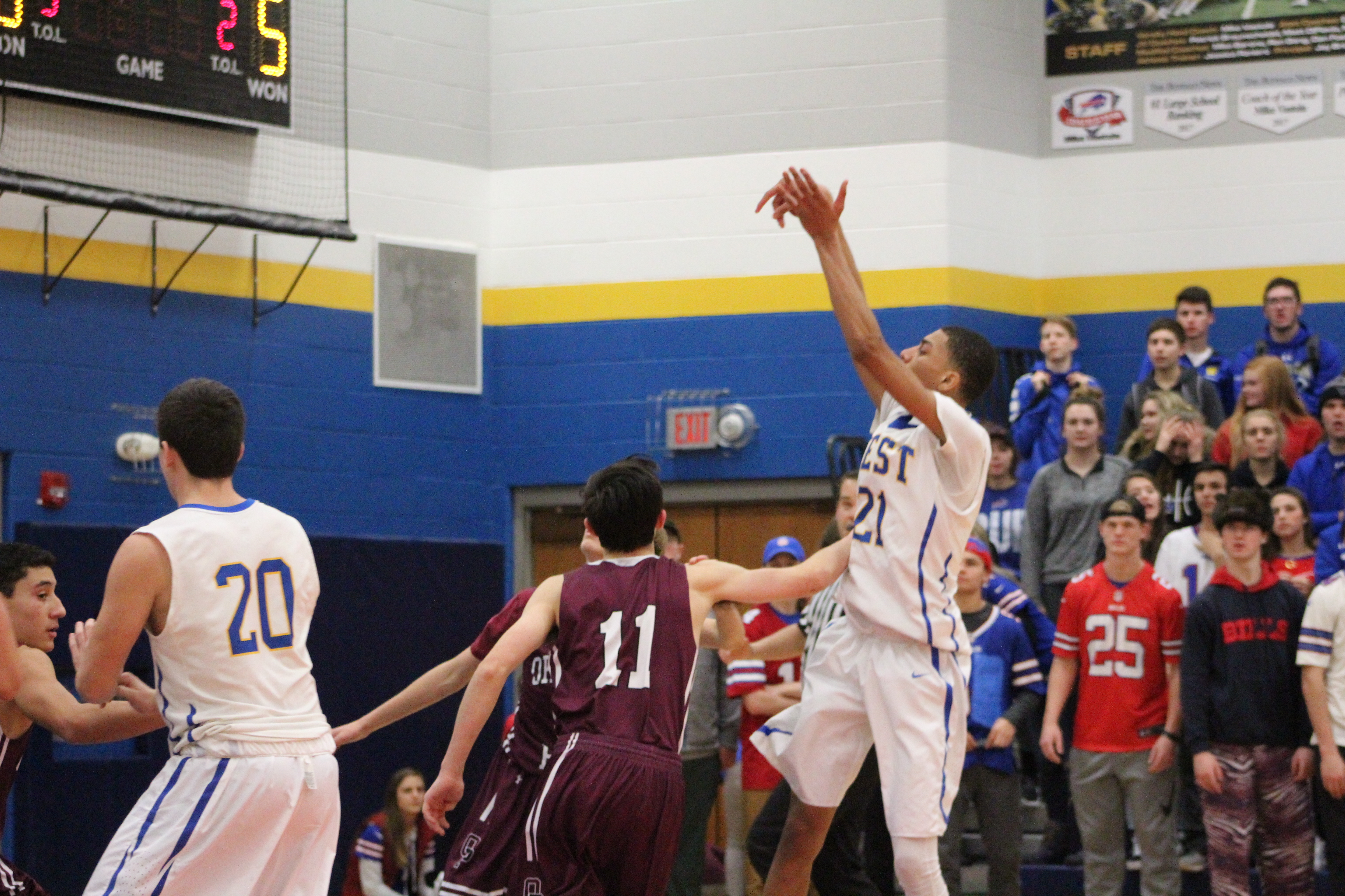 (Adrian Baugh drains a jumper for the Indians)